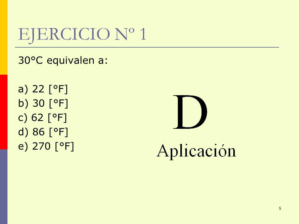 EJERCICIO Nº 1 30°C equivalen a: a) 22 [°F] b) 30 [°F] c) 62 [°F]